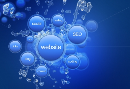 web: Website Project - Cool Blue Website Project Illustration. Web Technology Illustrations Collection. Blue Bubbles: Website, Social, Hosting, SEO, Links, Coding, Blog and Content