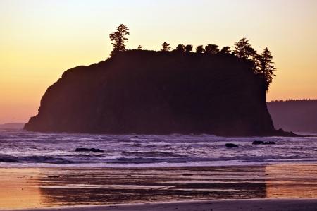 northwest: Rocky Island Sunset - Pacific Northwest Shore. Nature Photo Collection.