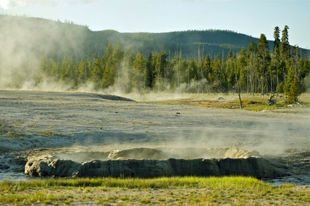 geysers: Geysers Basin Yellowstone National Park Steaming Landscape. Wyoming Photography Collection.