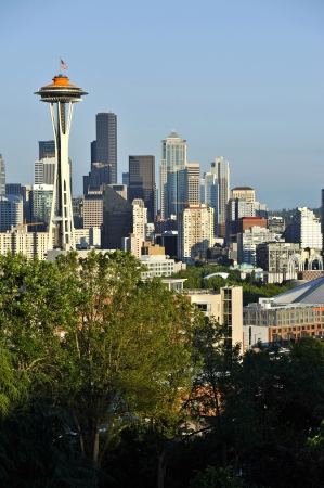seattle skyline: City of Seattle - Downtown Seattle in Vertical Photography. Summer Time. Cities Photo Collection. Seattle, Washington, U.S.A. Editorial