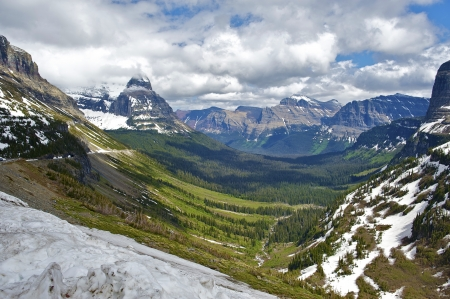 Glacier National Park in Montana USA. Beautiful Valley. Scenic Montana Photo Collection. photo