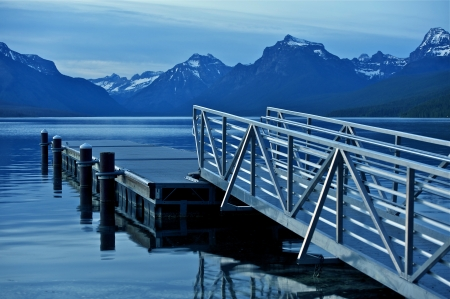 Montana Lake McDonald and Floating Dock. Glacier National Park Sunset. Nature Photo Collection. photo