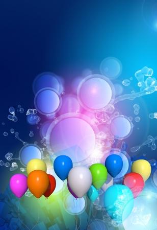Viering achtergrond met kleurrijke ballonnen en Splashes. Verticale Viering Achtergrond. Groot als Achtergrond van de partij, Nieuwjaar of elk soort evenement. Kopieer de ruimte op de top. Stockfoto