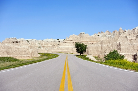 Dakota Road Through Badlands. South Dakota USA. photo