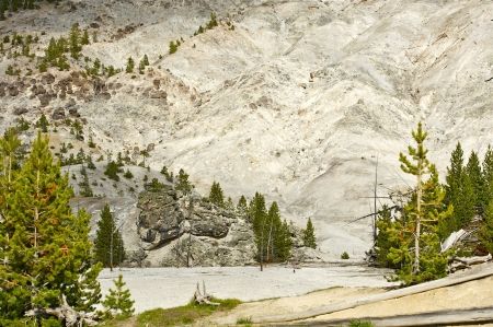 geological: Roaring Mountain in the Yellowstone. Roaring Mountain  8,152 ft  2,485 m  is in Yellowstone National Park in the U.S.A. Wyoming State. Yellowstone Photography Collection Stock Photo