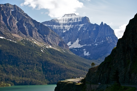 Mountains in Montana and Saint Mary Lake - Glacier National Park, Montana, U.S.A. Mountains Scenery. Nature Photo Collection. photo