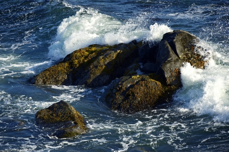 Rocky Ocean Shore in Crescent City, California, USA  Waves Crashing Into Large Rocks  Nature Photography Collection
