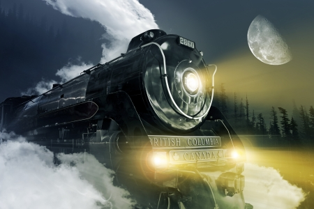 railway history: 2860 Royal Hudson Steam Locomotive on Route Through British Columbia Forest at Night  Semi-Streamlined 4-6-4 Hudson Steam Locomotive - British Columbia Canada  Digitally Generated illustration  Made From Real Royal Hudson Locomotive Photography  Editorial