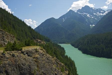 Diablo Lake Cascades Mountains, Washington State, USA. Diablo Lake Overview. Cascades Mountains Photo Collection.