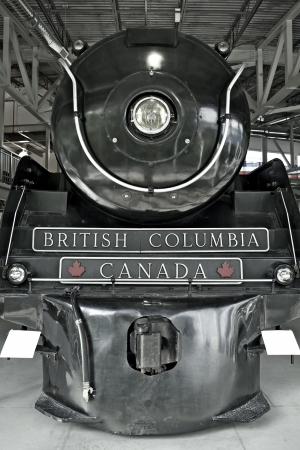 Royal Hudson 2860 Steam Locomotive in Squamish British Columbia Railroad Museum. Canadian Railroad Photo Collection. Steam Locomotive Front View.