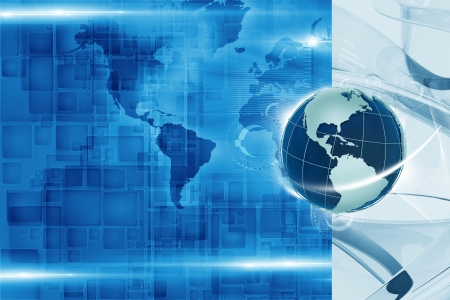 bluish: Global Tech Background - Blue Hi-Tech Global Technology Background Illustration with Copy Space. Stock Photo