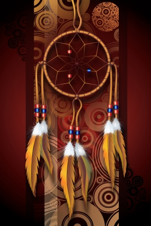 Native American Art Background Illustration. Dark Brown-Burgundy Circles Background and Dreamcatcher. Vertical Design.