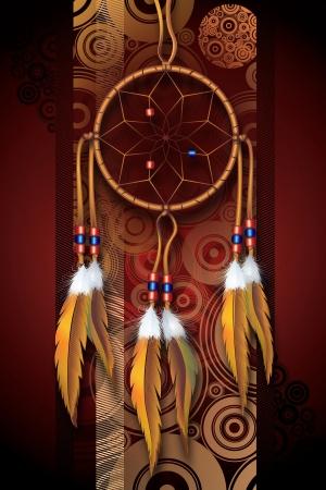 Native American Art Ilustración de fondo. Dark Brown-Borgoña Círculos Antecedentes y Dreamcatcher. Diseño Vertical.