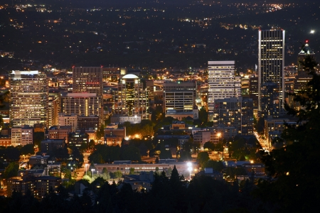 overnight: Portland at Night - Downtown Portland, Oregon. American Cities Photography Collection.
