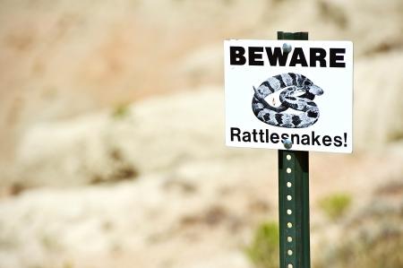beware: Beware Rattlesnakes Warning Sign.