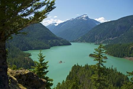 Diablo Lake Washington, USA. North Cascades National Park. Diablo Lake Panorama.  Stock Photo