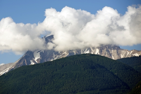Cloudy Summit - British Columbia, Canada Mountains. Clouds Covering The Summit. Stock Photo - 15025540