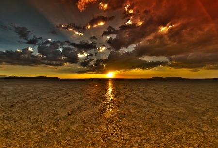 mojave: Dry Lake Sunset HDR - El Mirage OHV Recreation Area, Mojave Desert, California USA.