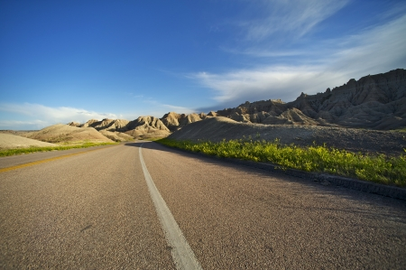 Summer Trip in South Dakota, USA. Badlands Highway. Traveling Theme. photo