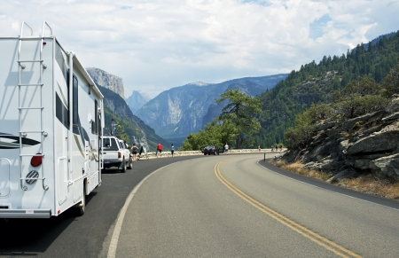 Visiting Yosemite Valley by RV. Yosemite National Park South-West Viewpoint. Sierra Nevada Mountains. photo