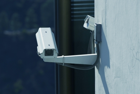 CCTV Security Cameras on the Building Wall. Stock Photo - 15024832