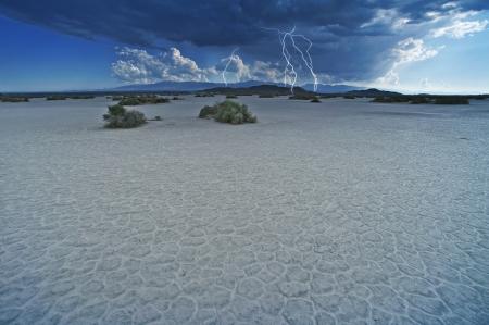 thunder: Desert Lightning Storm - Desert Thunderstorm. Mojave Desert, California, USA. Nature Photo Collection Stock Photo