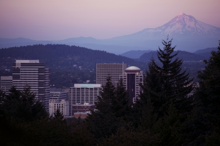 Mt Hood and Portland - Sunset Horizontal Photography. Portland, Oregon USA.