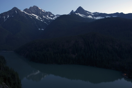 lake diablo: Evening at Diablo Lake - North Cascades Mountains, Washington State, USA.
