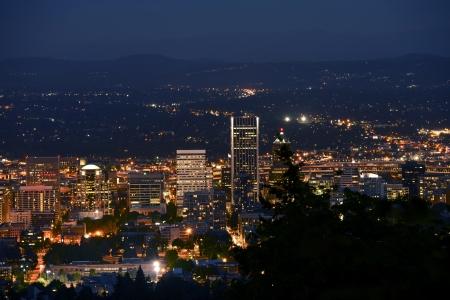 overnight: Downtown Portland Closeup at Night  Portland, Oregon, United States of America  Summer Night  Stock Photo
