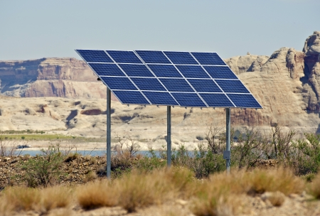 Backyard Solar Panels solar panels on backyard. arizona, usa. alternative energy