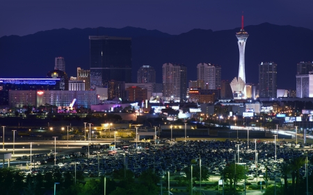 nevada desert: Downtown Las Vegas, Nevada, USA. Vegas at NIght. Sleepless City. American Cities Photo Collection