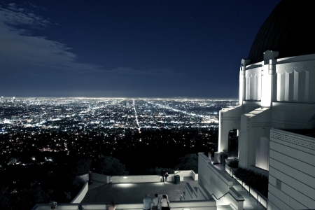 observatory: Observation Deck at Griffith Observatory, Los Angeles, California, USA. Los Angeles Scenic Night View. Architecture Photo Collection. Stock Photo