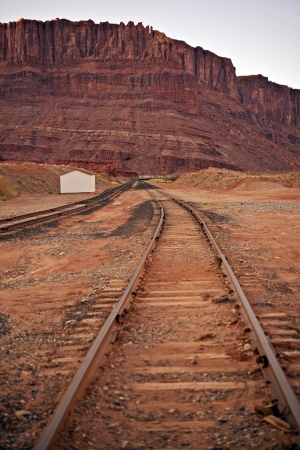 canyonland: Utah Railways USA - Railway Tracks in Southern Utah State, USA. Transportation Photo Collection. Stock Photo