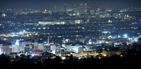 los: Beverly Hills at Night - Panoramic Night Time Photography. Hollywood and Beverly Hills, California, USA.