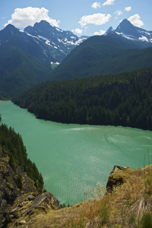 lake diablo: Diabo Lake in North Cascades, Washington, USA. Vertical Panoramic Photography. Stock Photo