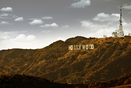 hill: Famous Hollywood Hills in California, USA. Hollywood Sign.