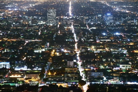 Los Angeles Metro at Night. Aerial Photography. Los Angeles, California, USA. photo