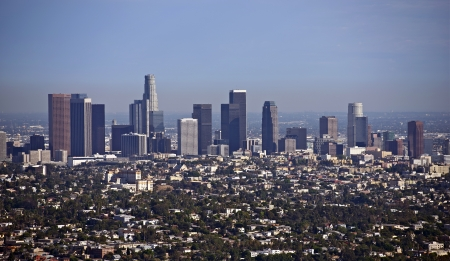 angeles: Los Angeles,California Cityscape - Downtown Los Angeles Aerial Photography. American Cities Photo Collection