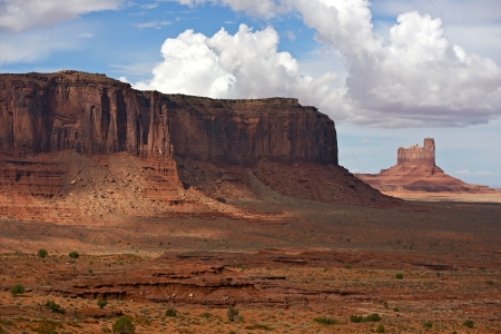 erode: Monument Valley, Arizona USA. Monument Valley Panorama - Summer Cloudy Sky. Navajo Tribal Park.