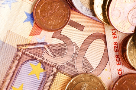 gov: Fifty Euros - Euro Money. Bill and Coins. Financial Photo Collection