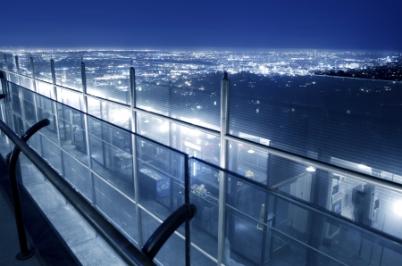 griffith: Glass Wall in Griffith Park - Los Angeles Area Night Panorama. L.A. California, USA.