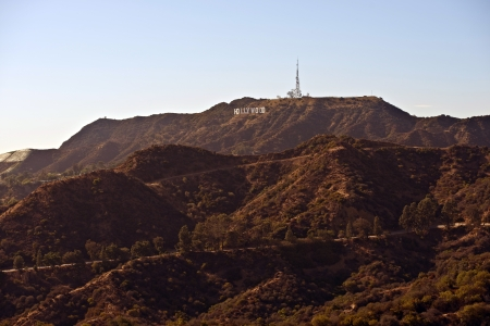 hollywood hills: Hollywood Mountains - Hollywood Hills with Hollywood Famous Sign. California, USA. Stock Photo