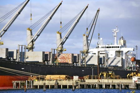 containership: Commercial Cargo Ship  Cargo Vessel in Port. Cargo Transportation Theme.
