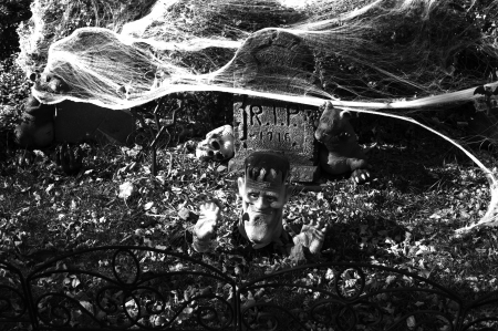 Halloween Graveyard - Scary Graveyard Halloween Decoration. BW Photography. photo