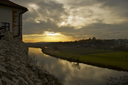 Sunset in Tyniec (Near Krakow), Poland. Wisla River. Malopolska, Poland. The Benedictine Abbey in Tyniec. Stock Photo - 17039145