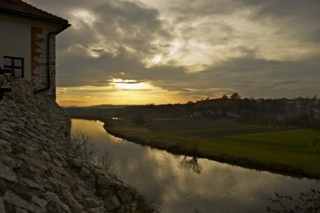 Sunset in Tyniec (Near Krakow), Poland. Wisla River. Malopolska, Poland. The Benedictine Abbey in Tyniec. Stock Photo - 17039145
