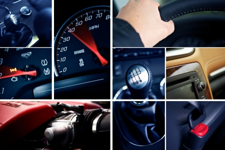 dui: Motorization Mosaic. Cool Mosaic Built From Details Vehicles Photography. On the Photo: Powerful Gas Engine, Hand on Steering Wheel, Manual Transmission Stick Shift, Speedometer, RPM and More. Transportation Photo Collection. Cool Blue Tones. Stock Photo