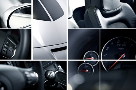 vehicle accessory: Modern Cars Mosaic - Studio Photography. Details of Exotic  Sports Cars in Photography. Transportation Photo Collection. Steering Wheel, Leather Seats, Controls, Accessories, Mirror, Buttons, Equipment, RPM, Manual Stick Shift and More.