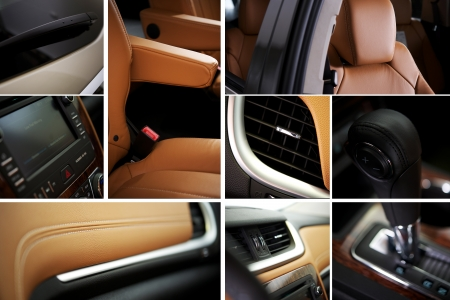 Modern Car Design. Designing Modern Vehicle - Car Details Mosaic. Transportation Photo Collection. Studio Photography. Elements Like: Multimedia Center, Leather Seats, Vents, Leather Details, Wiper, Dashboard and More. Horizontal Design
