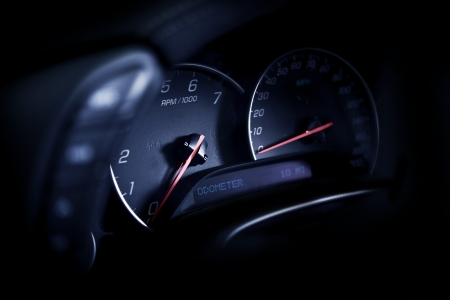 Sporty Car Dashboard - Closeup Studio Photography. Motorization Photo Collection.